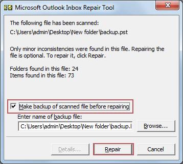 Click to Repair Corrupt PST file