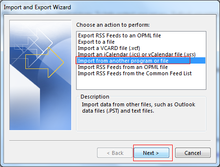 Import Outlook PST File