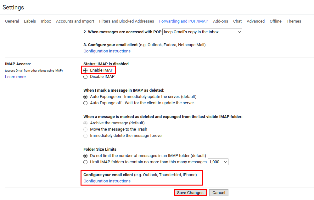 gmail imap settings