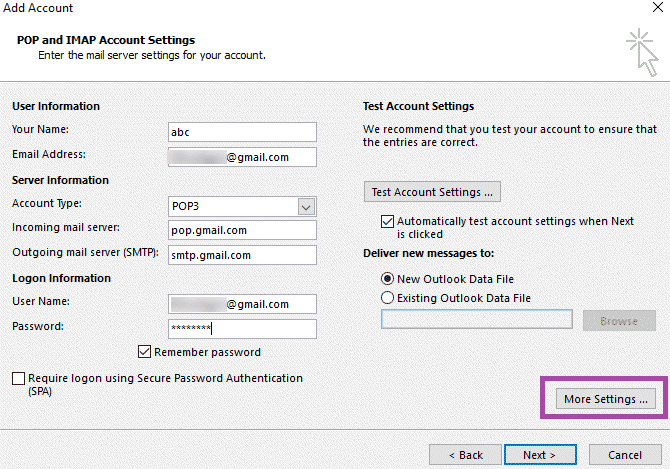 email account in outlook