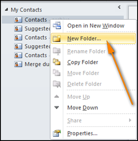 Create New Contacts Folder