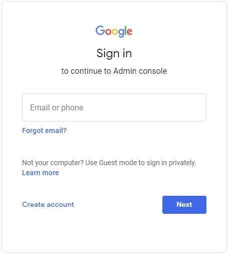 enter credentials for g suite admin