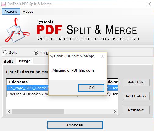 Merging of PDF done