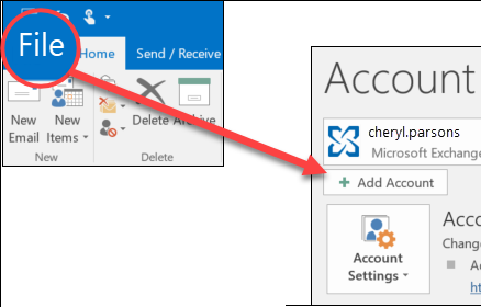 open MS Outlook and Add account