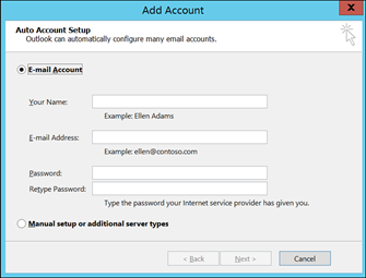 fill details in Outlook