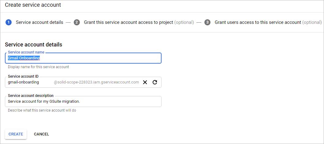 enter service account details