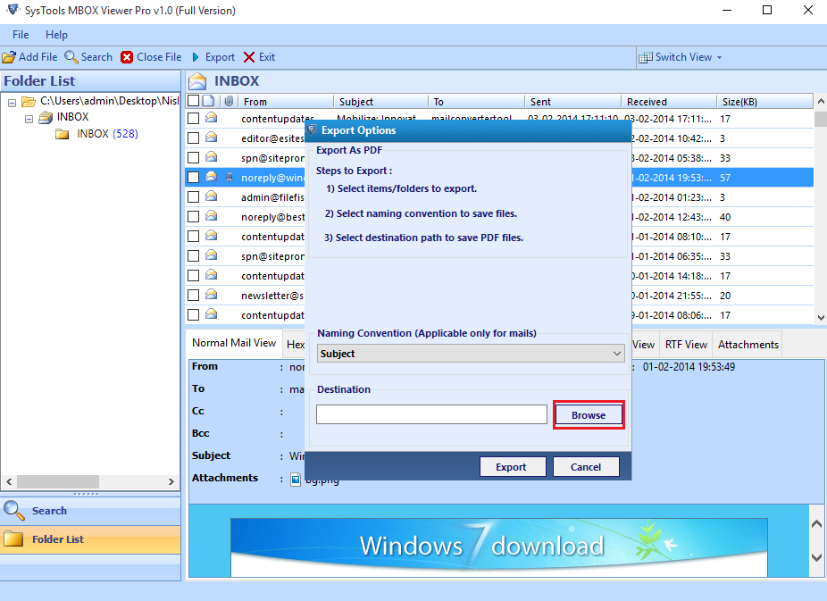 convert MBOX files to PDF