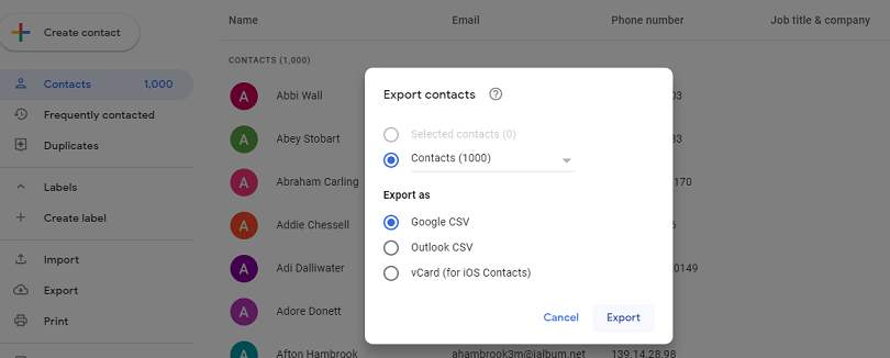 cannot import Gmail Contacts to Outlook