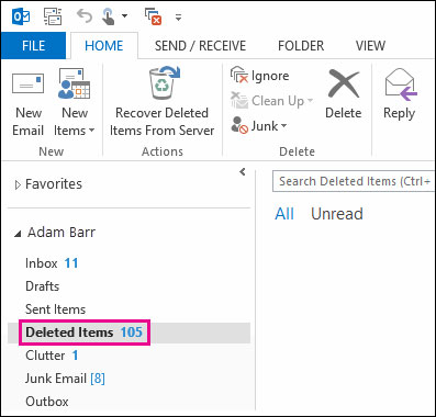 retrieve deleted journal from Outlook step 1