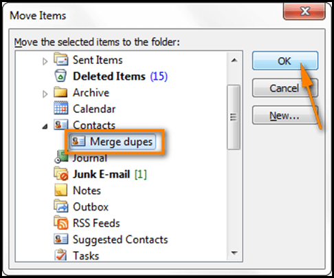Combine Outlook Contacts Folders