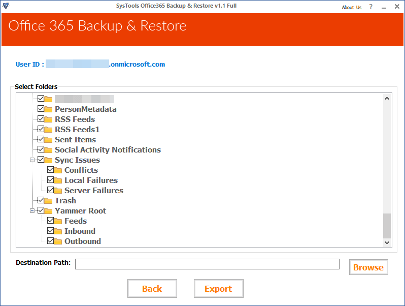 Office 365 Select folder