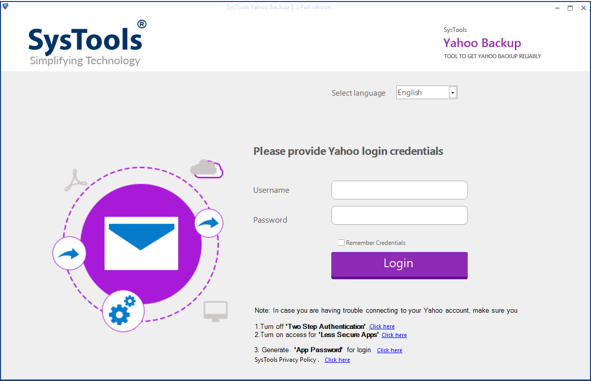 launch Yahoo email backup tool