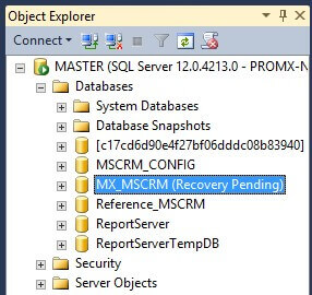 Recovery Pending State in SQL Server Database