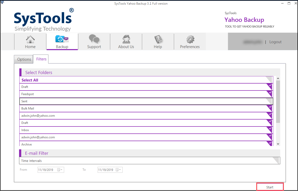 start the process to download yahoo mailbox