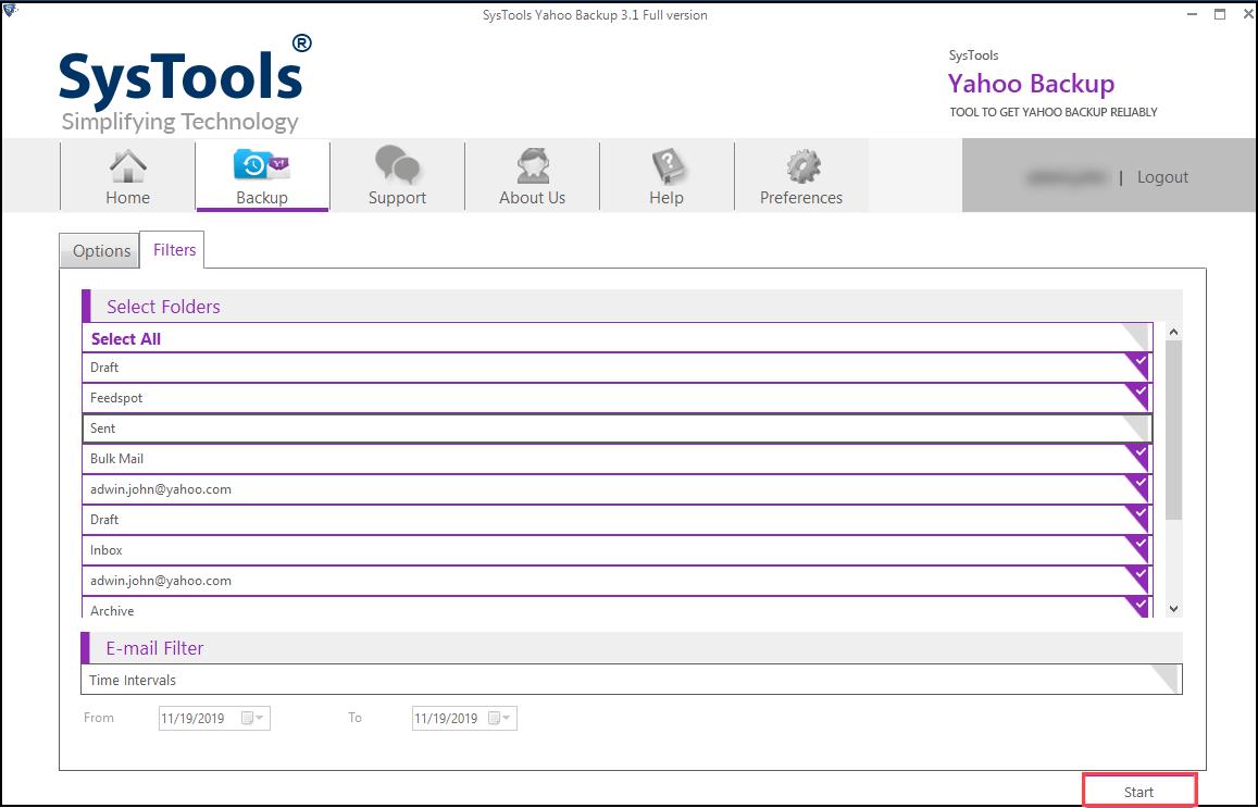 Step 4 - Zimbra Yahoo Mail Backup