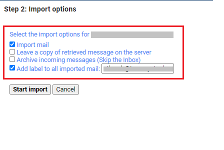 Select data to be imported