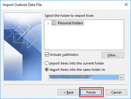 consolidate pst files using import option