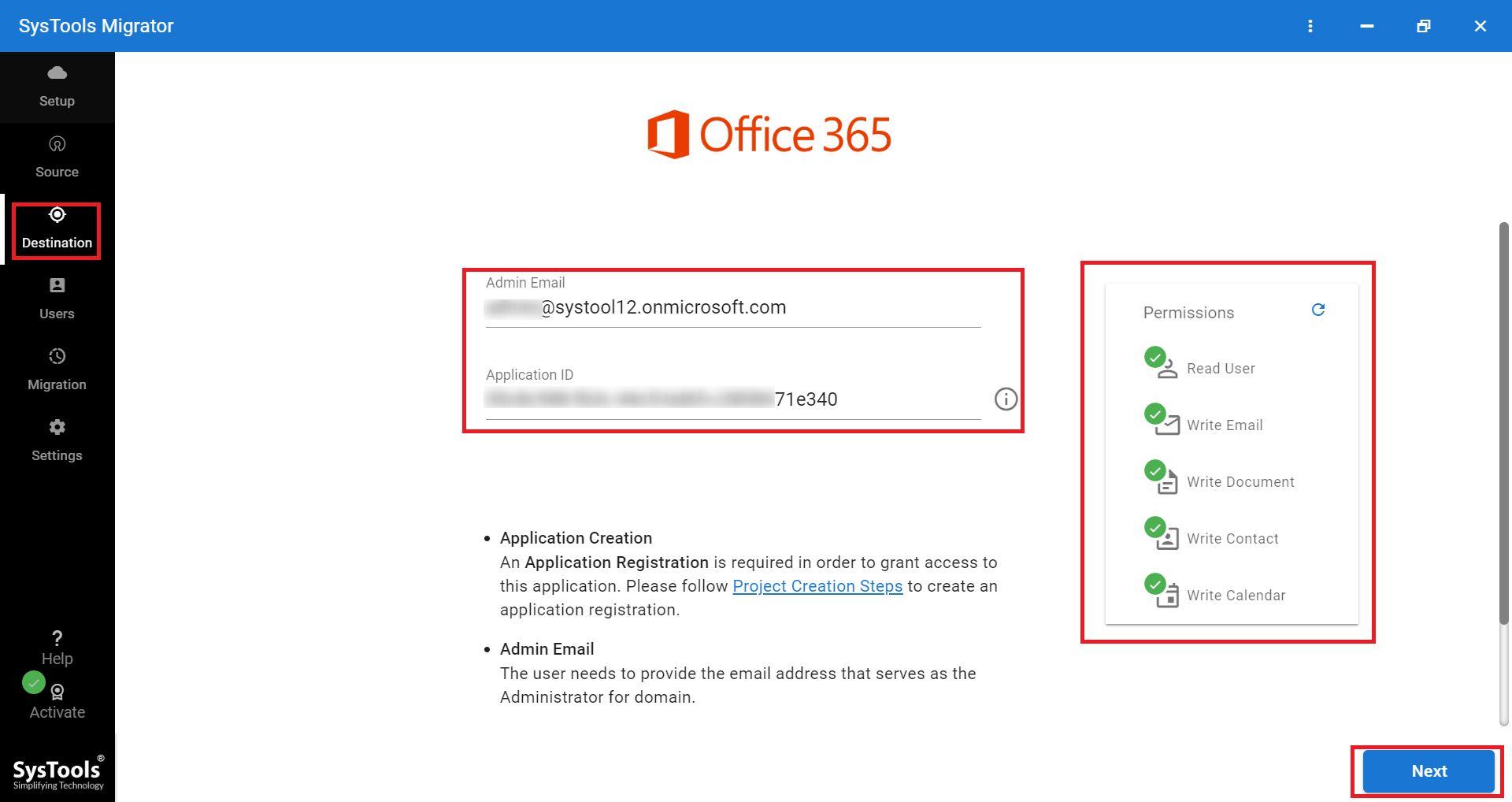 office 365 destination