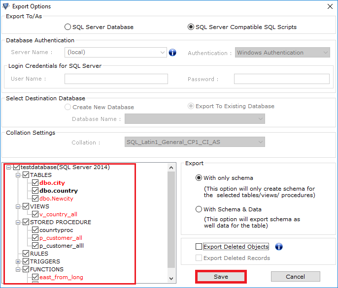 click on save to Convert Master Database File to SQL File