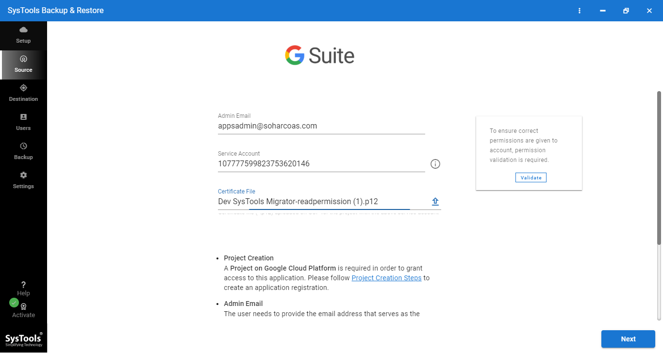 add credential to backup g suite data