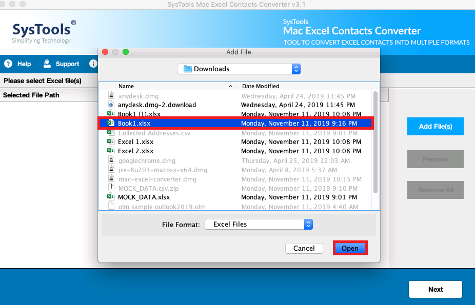 Add Excel files