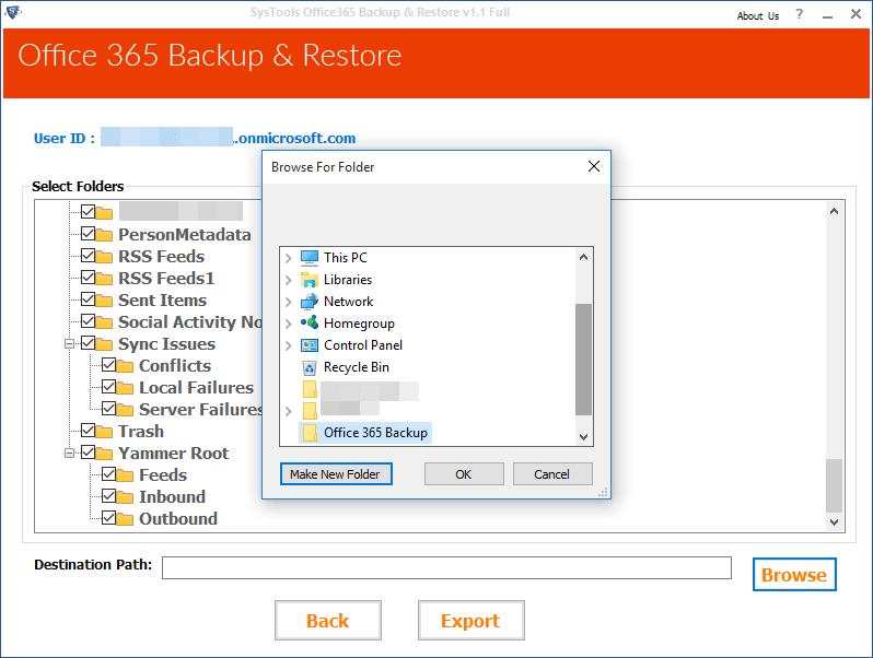Select Destination Location
