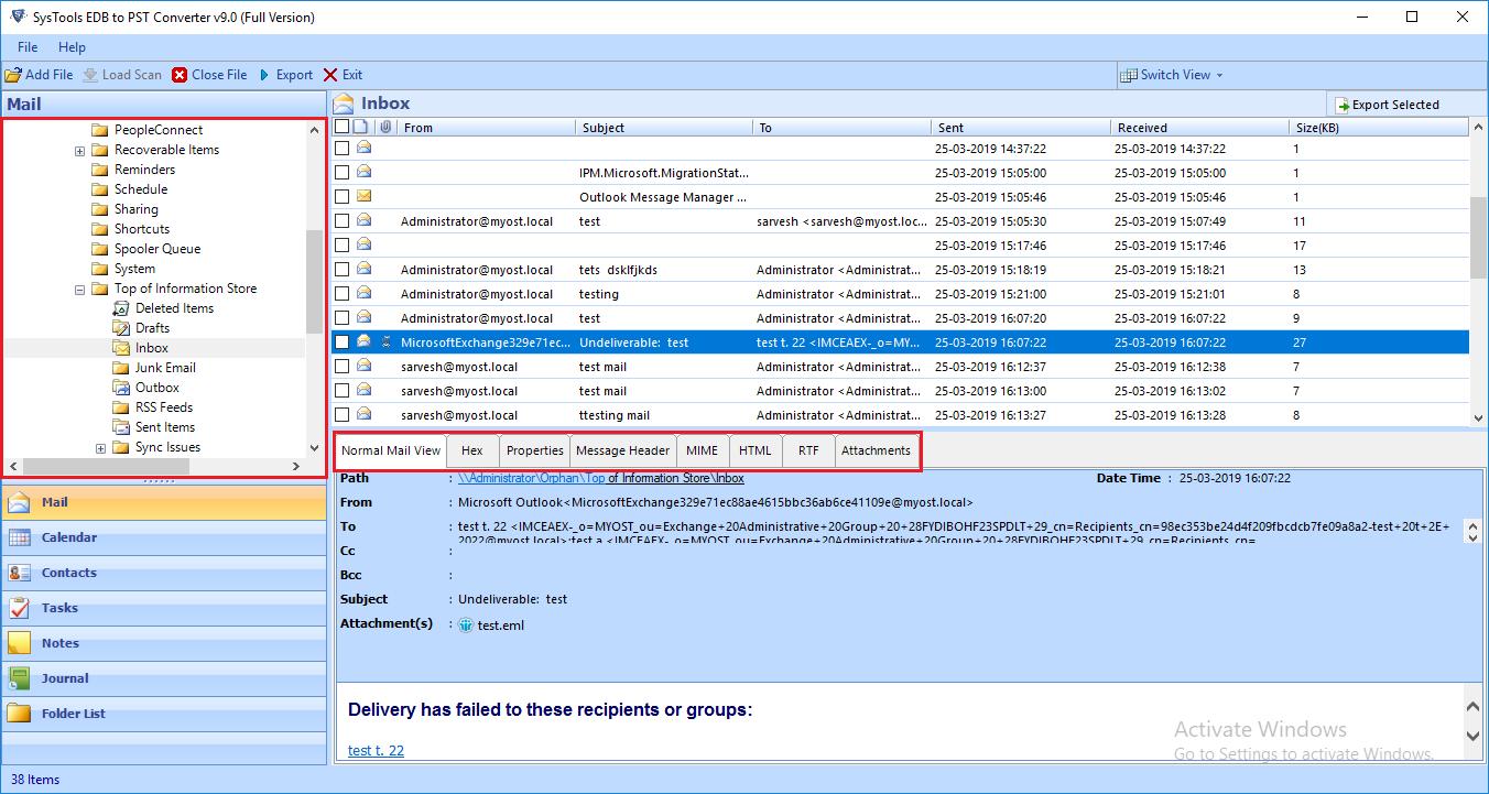 EDB Files to PST Translator