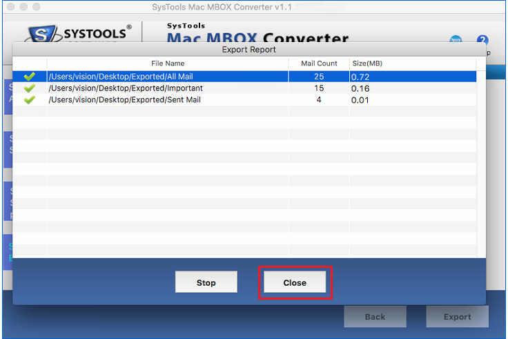 Export Complete from mbox to PST file