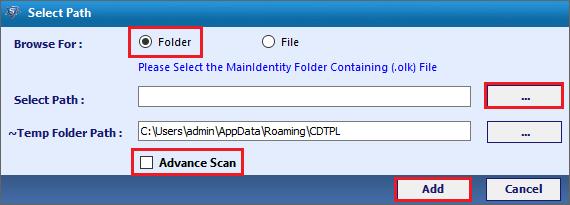 select OLK files